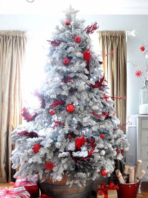 Albero Di Natale Bianco E Rosso.Albero Di Natale In Bianco E Rosso Polly Decor Shabby Chic